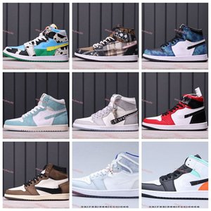 xshfbcl New high quality Jumpman 1 1s Mens Basketball Shoes Obsidian UNC Fearless Travis Scotts Turbo Green Chicago Sports Trainers Sneakers