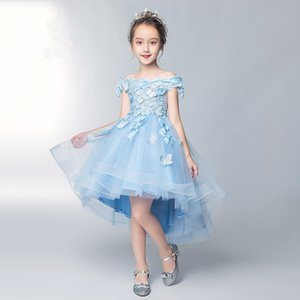 Blue Lace Girl's Pageant Flower Girls Dresses For Wedding Butterfly Appliques Princess Sequins Kids First Communion Party Event Formal Wear