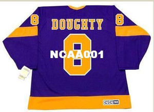 Men #8 DREW DOUGHTY Los Angeles Kings 1970's.1980 CCM Vintage Retro Home Hockey Jersey or custom any name or number retro Jersey
