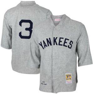 Дешевый Babe Ruth # 3 Mitchell Ness 1929 Серой Дорога Mens прошитая XS-6XL бейсбол трикотажных изделия