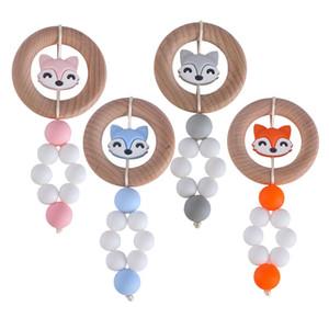 Bébé renard Teether anneau Hêtre silicone Teething dessin animé jouet sûr en serrant les dents écologiques jouets 4 couleurs Z1287