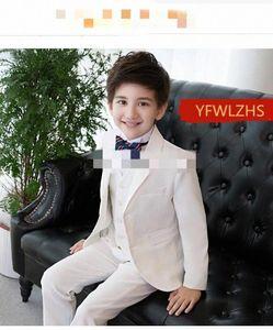Handsome Two Buttons Notch Lapel Kid Complete Handsome Boy Wedding Suit Boys' Attire Custom-made (Jacket+Pants+Tie+Vest DgmK#