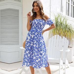 A-line Summer Puff Sleeve Slash Neck Print Short Streetwear Natural Mid-calf Sundress Vestidos Msfilia