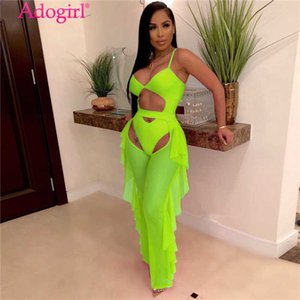 Adogirl Fluorescence Color Fashion Casual Two Piece Set Hollow Out Spaghetti Straps Bodysuit Swimwear + Ruffle Sheer Mesh Pants