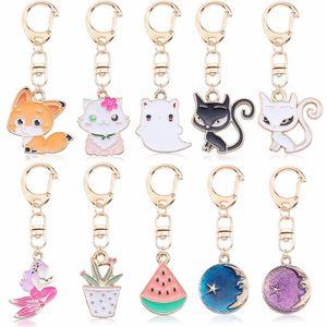 DIY Anime Ainimal Cute Cat Kechain For Women Kawaii Kitty Keychain Mermaid Moon Metal Key Chain Jewelry Gift Drop Shipping