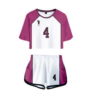 Anime Haikyuu Cosplay Costume Shiratorizawa Academy Ushijima Wakatoshi Tendo Satori Tracksuit Women Two Piece Set Top and Shorts