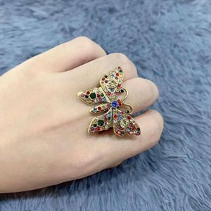 New luxury color diamond ring Wild popular personality woman rings