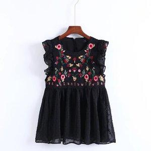 YSMILE Y Women Sweet Sleeveless Ruffles Floral Embroidery Blouse Fashion Women Summer O Necklace European Tops Blusas Y200622
