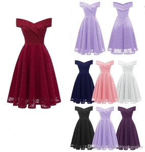 Women Sexy Embroidery Lace Party Dresses Evening Prom Bridesmaid Dress Summer 2020 New Fashion Off-shoulder Sleeveless Casual Cocktail Dress