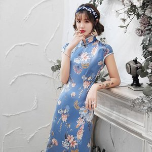 Satin Cheongsam PLUS Size 4XL Women Vintage Short Qipao Vestidos Classic Mandarin Collar Sexy High Split Evening PARTY Dress