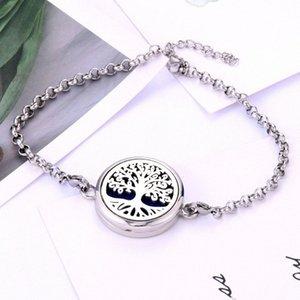 New High Essential Parfum Qualité Huile Diffuseur Médaillon Bracelet en acier inoxydable magnétique pour les femmes Bracelet à breloques en argent Bracel UVk4 #