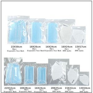 Retail Bag Packing Protective OPP Bag zipper pouches Zip Lock Bags for Disposable Face Mask bags with hang hole ONLY Package KHA064