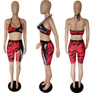 Women Ethika underwear Swimwear Sexy Tie up Bra +Shorts Half Length Pants 2 Piece Tracksuit Patchwork Shark Camo Striped Swimsuit Bikini