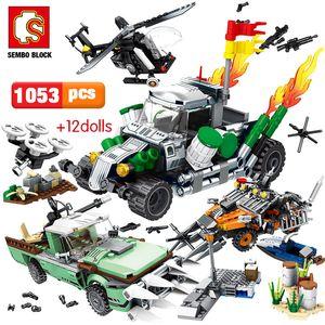 SEMBO 1053pcs полиции города серии Technic вагоностроительный блоки Военный вертолет Black Hawk Troopers Кирпичи Игрушки для мальчиков