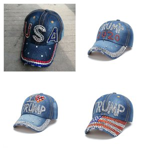 10 types hot sale trump 2020 baseball cap USA election campaign hat cowboy diamond cap Adjustable Snapback Women Denim hat