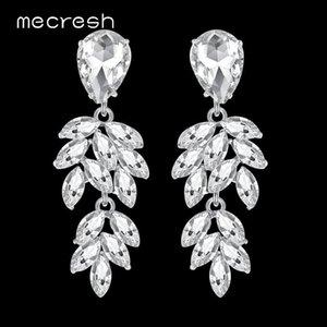 Mecresh Sparkling Crystal Bride Drop Earrings for Girls Silver Color Rhinestone Cute Leaf Wedding Dangle Earrings MEH1088