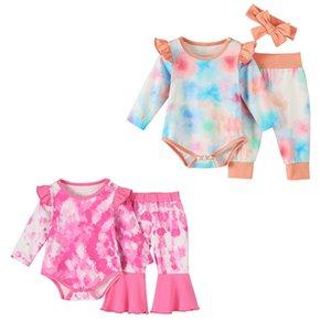 2020 Outono New Baby Tie-dye Outfits manga comprida Romper Alargamento Pants Headbands Set Kids Boutique Meninas Vestuário Define Z1267