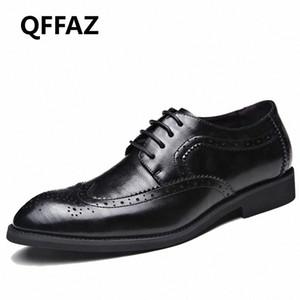 QFFAZ العلامة التجارية أحذية الرجال عالية الجودة أشار تو اللباس أحذية رجالية ذكر ملابس رسمية Zapatos هومبر أوكسفورد زائد الحجم 38 48 قارب أحذية S Fy2m #