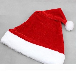 High-grade Christmas Hat Adult Christmas Party Cap Red Plush Hat For Santa Claus Costume Christmas Decoration gift wen4808