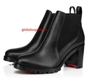 2019 New boot Lug Sole Marchacroche Ankle Boots Women Round Toe Ladies Bottes Chunky Heels Red Bottom Boots,Red Sole Booties
