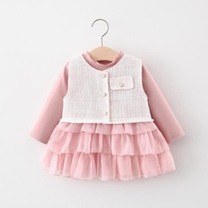 2020 Autumn Sweet Girls Clothes Set Kids Princess Children Baby Infants Long Sleeve Cake Dress+Waistcoat Outwear 2pcs S11020