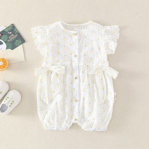 Full cotton summer baby girl's romper 3 pieces pack