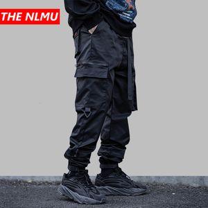 Hombres Multi-bolsillo elástico de la cintura Diseño Harem Bragas de los hombres Streetwear Hip Hop Punk Casual Pantalones Joggers masculino Bailar Pant WG912 T200728