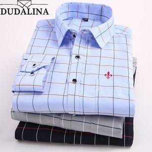 Dudalina Plus Size M-5xl Camisas Casual Shirts Turn-down Collar Smart Print Regular Full Polyester CX200801