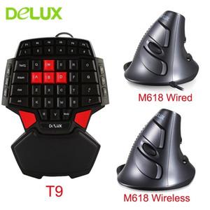 لوحة المفاتيح السلكية ديلوكس فأرات مريح واحدة اليد T9 البسيطة الألعاب لوحة المفاتيح مع البصرية M618 عمودي الفئران عدة للحصول على كمبيوتر محمول T190624