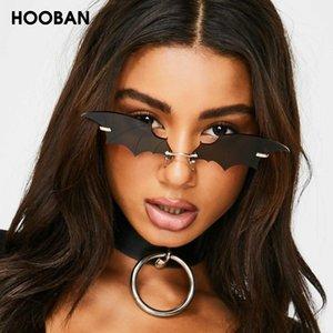 HOOBAN único murciélago en forma de Lentes de sol de las mujeres marca de moda Gafas de sol Mujer de la vendimia sin rebordes Eyewear UV400 Shade