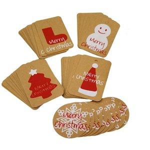 Cartes de Noël Festival d'hiver de voeux Carte Cadeaux Carte heureuse de vacances Invitations décor rouge Chapeau de Père Noël Arbre de Noël flocon de neige DHE185