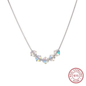LEKANI New Colorful Bead Crystals From Swarovski Pendants Necklaces Real S925 Silver Box Chain Collars For Women Daily Jewelry
