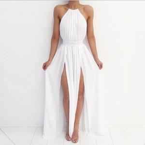 Женщины с плечо шифон белое платье лето красный пляж Boho Maxi длинные элегантные платья для подружки невесты
