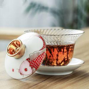 Fish Enamel glass gaiwan porcelain tea tureen cup saucer lid fish print clear cup bowls accessories home decor