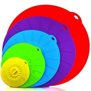 Горячий Красочный 5шт / комплект силикон кормушка Люки крышка BPA Free Всасывающий Seal Крышка жаростойкой Microwave Крышка для чаш