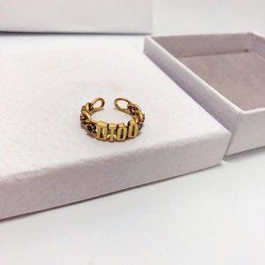 Hot sale classic alphabet color diamond opening designer ring luxury designer jewelry women ring