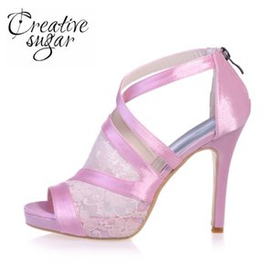 Creativesugr Sweet sandal crossed strap lace and satin heels platform Rome style see through shoes pink black white quinceanera