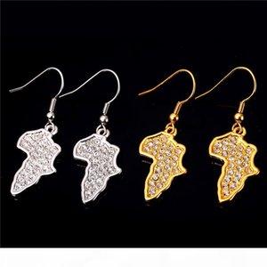 Women Wholesale Clear Rhinestone Earrings Platinum 18K Real Gold Plated New Trendy Africa Map Drop Earrings