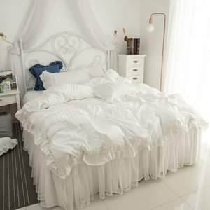2019 Cotton lace Bedding Set white Duvet Cover Set Bed Linen Tassels Luxury princess bed skirt sets twin queen king bedclothes T200706