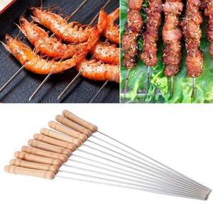 12PCS / SET Kabob Şiş Ahşap Saplı Paslanmaz Çelik Barbekü Şiş Barbekü Izgara Aksesuarları kebaplar Seti Yeniden kullanılabilir barbekü Sticks Sticks