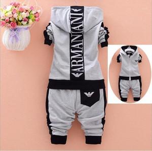 2 pezzi Abbigliamento per bambini Set autunno 2020 Nuovo cotone manica lunga con cerniera per neonati vestiti vestiti cappotto con cappuccio sportivo tuta 1exq #