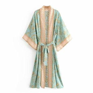 women green floral print bat sleeve rayon beach Bohemian robe kimono Ladies V neck sashes Boho dress