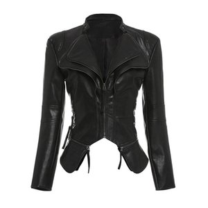 Black Cropped Jackets Coat Women Spring Gothic PU Leather Punk Cool Top Zipper Slim Fashion Streetwear Casual Motorcycle Jackets