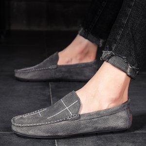 LEOSOXS Hombres mocasines de cuero genuino piel de cerdo que conduce el barco zapatos grandes Tamaño 38 - 48 cómodo zapatos sin cordones planos ocasionales