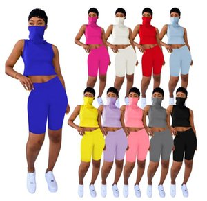 10 color Summer Women 2 Two Piece Tracksuits Sleeveless Vest With Face Mask Bodycon Biker Shorts Casual Sports Outfits Set S-XXL