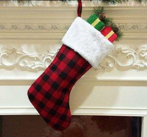 Red Plaid Christmas Stocking Christmas Tree Ornament Decorations Santa Claus Stockings Candy Socks Bags Xmas Gifts Bag ZZA2461 300Pcs
