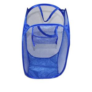 Atacado de alta qualidade dobráveis de roupa de malha Basket Organizador de armazenamento sujos Roupa recipientes multi Cores de lavar roupa Basket Bag DH0026