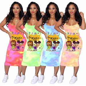 Mulheres tie-tingidos Deslize vestido dos desenhos animados Imprimir Summer Long Vestidos sem mangas Uma peça Braces Skirt Sexy Vestido BODYCON Outfits Clube Clothes S-3XL