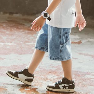 vSYfA 2020 child-size boy's denim Shorts and and trousers trousers in the big Korean fashionable van boy knee-length denim shorts fashionabl