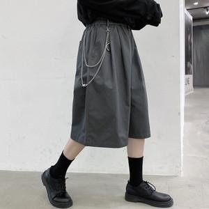 3 цвета Мужчины Металл Подвеска Повседневный эластичный пояс теленок длина костюм Pant Мужской Summer Streetwear Hip Hop Сыпучие Wide Leg Pants Mid J1of #